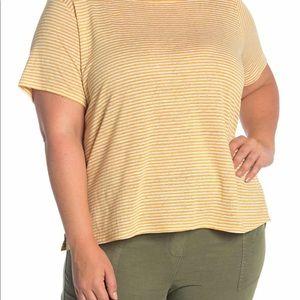 Eileen Fisher Organic Linen Jersey Stripe Tee NWT